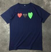 ユニセックス人気 COMME des GARCONS コムデギャルソン 半袖Tシャツ  Uネックネイビー_品質保証