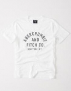 スーパーコピー ブランドアバクロメンズ tシャツAbercrombie & Fitch半袖クルーネックプリントTシャツホワイト 新作_品質保証