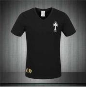 CHROME HEARTS クロムハーツ半袖Tシャツ メンズs級 ブラック ホワイト コットン ロゴTシャツ Vネック 新作 夏服_品質保証