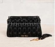 MIUMIU ミュウミュウ バッグ マテラッセ  MATELASSE レディースショルダーバッグ レザーブラッククラッチ5BH356 N88 F0002_品質保証
