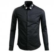 GIVENCHY ジバンシィ無地 長袖シャツ メンズ ブラック ホワイト 星 スター襟シャツ コットン 新作17F6217300-001_品質保証
