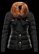 防寒 ダウン モンクレール ダウン MONCLER ジャケット レディース ブラック リボン ファー付き 冬ダウンコート アウター 人気_品質保証