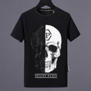 PHILIPP PLEIN Tシャツ新作メンズフィリッププレイン半袖コットンロゴプリントクルーネックトップス2018新作スカルプリント黒白ネイビー