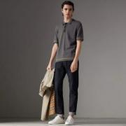 新作バーバリーメンズポロシャツティップドBURBERRYコットン刺繍ロゴジャージー半袖80026601グレー綿着心地良い大人気