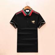 18夏新品グッチ Tシャツ コピー高級GUCCIポロシャツメンズ用ブラックホワイトコットン蜂刺繍半袖綿好感度アップ新品