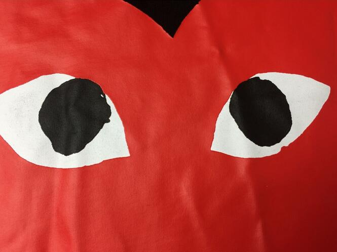 スーパー コピー ブランド 通販_大人のこなれ感COMME des GARCONS コムデギャルソン 半袖Tシャツ  ブラックレッドロゴ