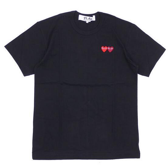 コピー 品 販売_ダブルハートデザインPLAY COMME des GARCONS プレイ コムデギャルソン メンズブラック半袖Tシャツ 200-007273-051