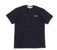 ダブルハートデザインPLAY COMME des GARCONS プレイ コムデギャルソン メンズブラック半袖Tシャツ 200-007273-051_品質保証