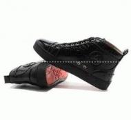 ルブタン メンズ コピースニーカーchristian louboutin 靴 ルイス Louis Flat ハイカット ブラックメンズシューズ_品質保証