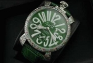 gaga milano コピー ガガミラノ時計 ダイヤモンド グリーン マヌアーレ48MM ステンレス 2針 夜光効果 レザーベルト_品質保証