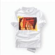 OFF-WHITE Tシャツ 新作オフホワイトメンズ 半袖Tシャツ コットンクルーネック 仏像 プリント ライトオン 夏ファッション ホワイトブラック_品質保証