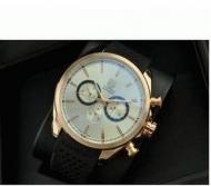 TAG HEUER タグホイヤー カレラ 高級メンズ時計 CARRERA  ウォッチ ゴールドケース ホワイト文字盤 男性用腕時計 レザーベルト 自動巻き_品質保証