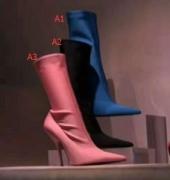 大人気バレンシアガ レディース ナイフ ブーティシューズ靴BALENCIAGAブーツブラック春夏女性用新作500550W04Z01000ピンクブルー