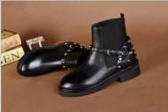 ブーツ レディース通販BALENCIAGAバレンシアガスバイクベルトブーツレザーショートブーツ春靴フラットシューズブラックシンプル上品